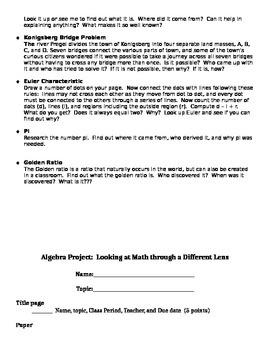 Algebra Project:  Different, Fun Topics
