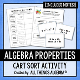 Algebra Properties Notes and Card Sort Activity
