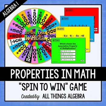 Properties in Math Spin to Win Game (Algebra 1 Version)