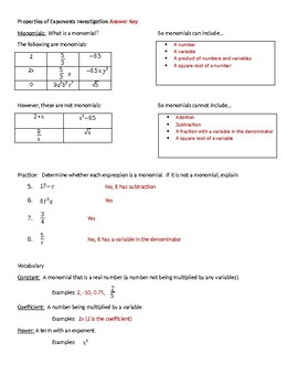 Algebra:  Properties of Exponents Investigation Lesson