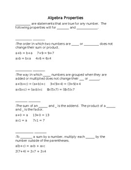 Algebra Property Outline Notes