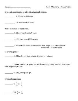 Algebra Proportions Test