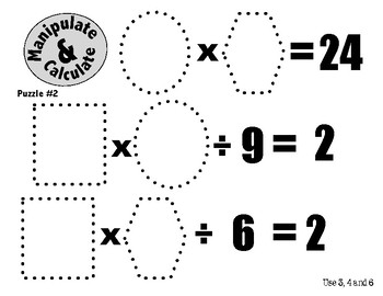 Algebra Puzzles for 3rd, 4th and 5th Graders: Manipulate and Calculate