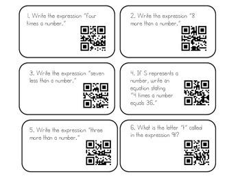 Algebra QR Code Task Cards