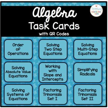 Algebra Task Cards QR Codes Bundle