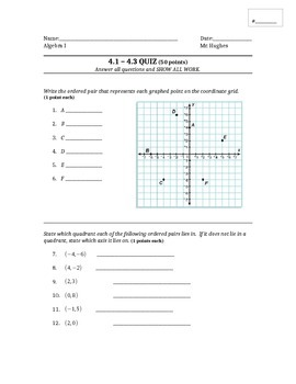 Algebra - QUIZ for Ordered Pairs and Linear Equations