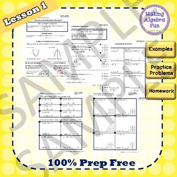 Algebra Quadratic Equations BUNDLE Lesson Notes Practice Homework Quiz & Test