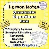 Algebra Quadratic Equations Notes Homework Quiz & Test BUN