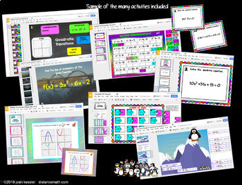 Algebra Quadratic Equations DIGITAL Activity Bundle with GOOGLE Slides™