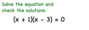 Quadratic Equations Factored Form