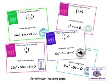 Algebra Quadratic Equations Scavenger Hunt Activity