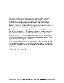 Algebra Quadratic Formula Worksheet and Proof