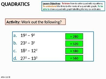 Algebra: Quadratic Graphs 3 - Further Problems (AS Level) + worksheet