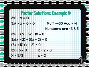 Algebra- Quadratics Interactive Notebook Unit