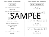 Algebra Quick Notes: Factor Binomials