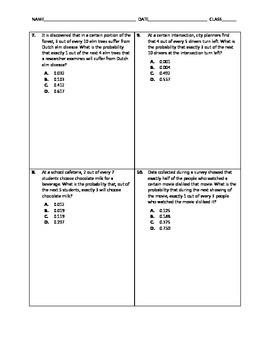 Algebra Quick Quiz - Binomial Distributions