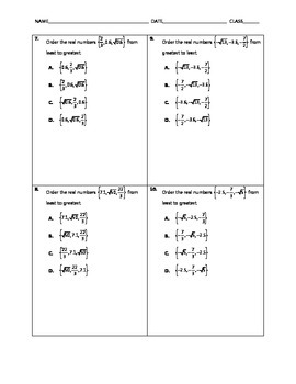 Algebra Quick Quiz - Classifying and Ordering Real Numbers