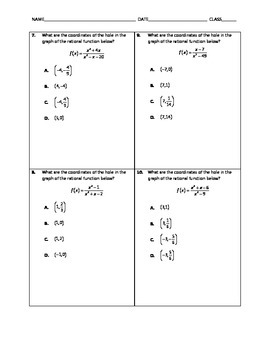 Algebra Quick Quiz - Domains, Asymptotes and Holes of Rational Functions