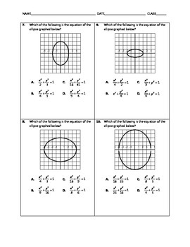 Algebra Quick Quiz - Ellipses