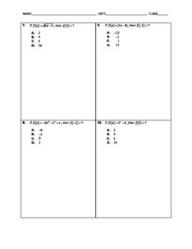 Algebra Quick Quiz - Evaluating Functions