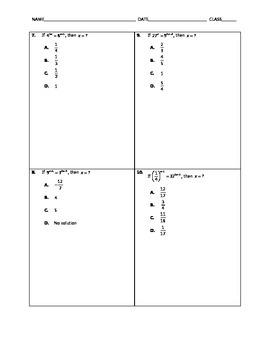 Algebra Quick Quiz - Exponential Equations