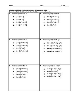 Algebra Quick Quiz - Factoring Sums and Differences of Cubes