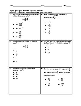 Algebra Quick Quiz - Geometric Sequences and Series