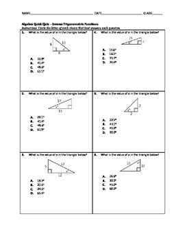 Algebra Quick Quiz - Inverse Trigonometric Functions
