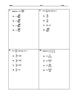 Algebra Quick Quiz - Literal Equations and Formulas
