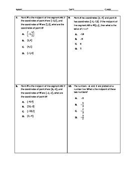 Algebra Quick Quiz - Midpoint