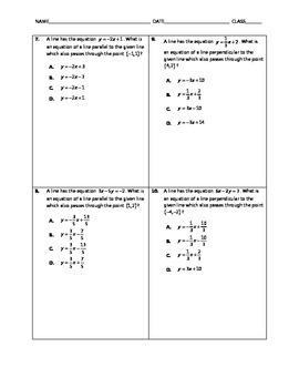 Algebra Quick Quiz - Parallel and Perpendicular Lines
