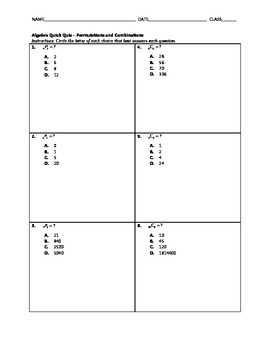 Algebra Quick Quiz - Permutations and Combinations