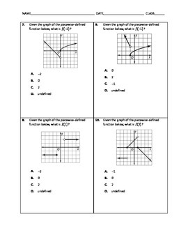 Algebra Quick Quiz - Piecewise Functions