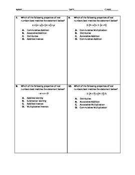 Algebra Quick Quiz - Properties of Real Numbers