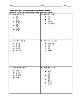 Algebra Quick Quiz - Quadratic Equations with Rational Solutions