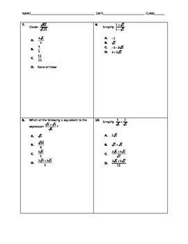Algebra Quick Quiz - Radical Expressions with Arithmetic