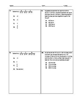 Algebra Quick Quiz - Rational Equations