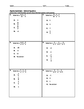 Algebra Quick Quiz - Rational Equations