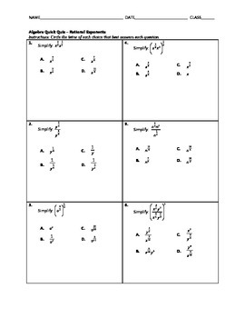 Algebra Quick Quiz - Rational Exponents 1
