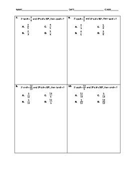 Algebra Quick Quiz - Right Triangle Trigonometry