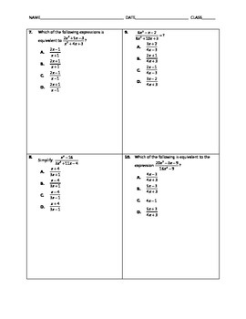 Algebra Quick Quiz - Simplifying Rational Expressions