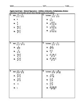Algebra Quick Quiz - Simplifying Rational Expressions with