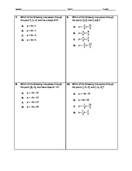 Algebra Quick Quiz - Slope-Intercept Form of Lines