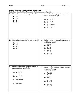 Algebra Quick Quiz - Slope-Intercept Form of Lines