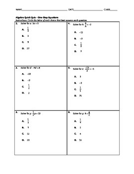 Algebra Quick Quiz - Solving One-Step Equations with Multiplication and Division