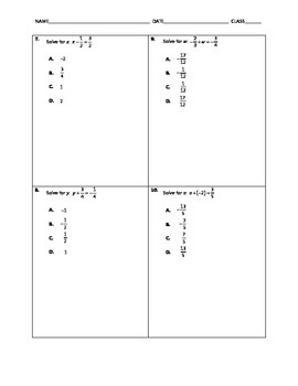 Algebra Quick Quiz - Solving One-Step Equations with Addition and Subtraction