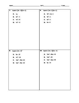Algebra Quick Quiz - Special Products