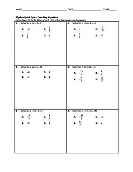 Algebra Quick Quiz - Two-Step Equations