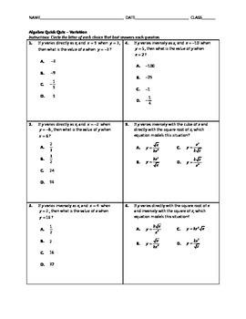 Algebra Quick Quiz - Variation