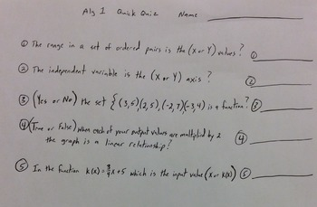 Algebra Quiz